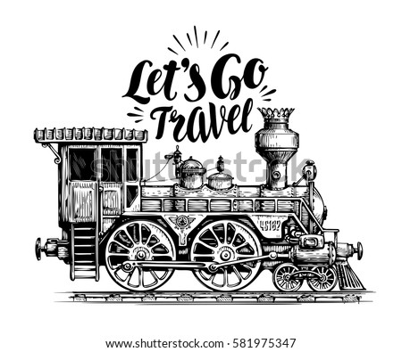 Hand drawn vintage locomotive, steam train, transport. Railway engine vector illustration, sketch