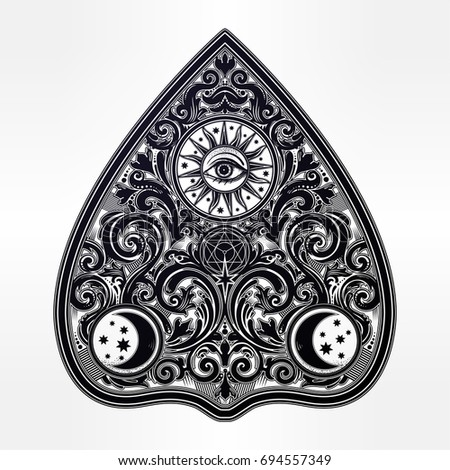 hand drawn vintage magic ouija...
