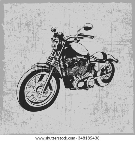 Hand drawn vintage motorcycle