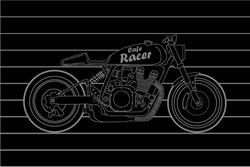 Hand Drawn Vintage Motorcycle vector  illustration on dark background / Hand Drawn Vintage Motorcycle Background