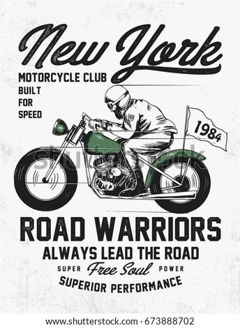 hand drawn vintage motorcycle...
