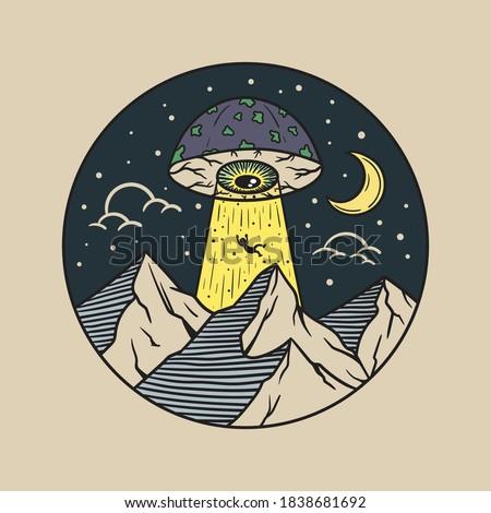 Hand Drawn Vintage Mushroom UFO with one eye Illustration