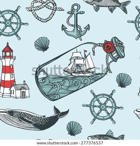 Hand drawn vintage nautical seamless pattern. Anchor, fish, steering wheel, ship in a bottle, sea shell, lighthouse, whale. Blue background
