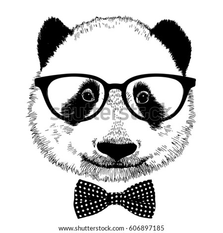 23635cc2eaac Hand drawn vintage panda with sunglasses and bow tie