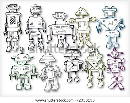 Hand Drawn Vintage Robots Set (vector)