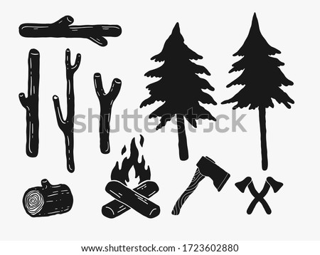 hand drawn vintage rustic woods icons. pine trees, camp fire, crossed axes simple logo silhouette lumberjack elements for retro graphic design. wild nature, camping, forest life illustrations