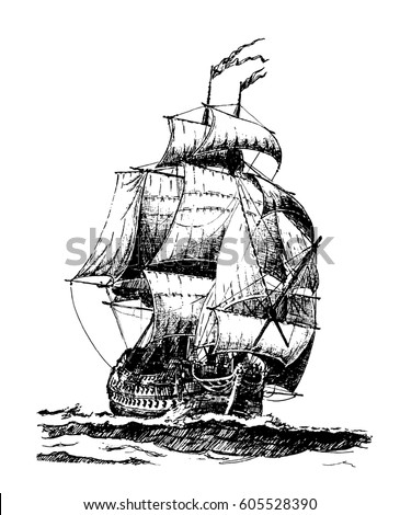 hand drawn vintage sailing ship