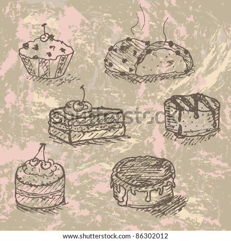 hand drawn vintage set of tasty cakes , created as very artistic painterly style, easy to edit - stock vector
