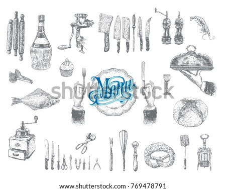 Hand drawn vintage sketch set of food and drinks for design of the menu. Vector retro illustrations, engraving style. Menu of restaurant
