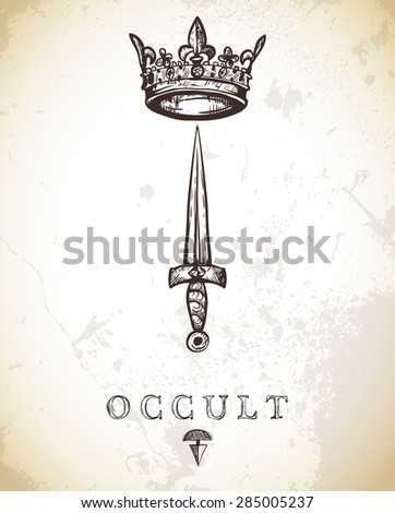 hand drawn vintage sword and