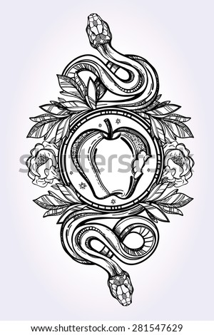 hand drawn vintage tattoo art vintage symbol detailed hand drawn forbidden apple and tempter. Black Bedroom Furniture Sets. Home Design Ideas