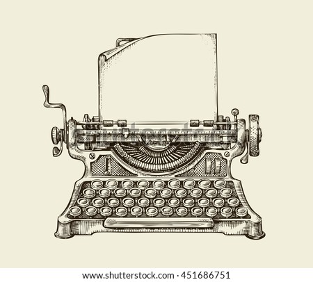 Hand drawn vintage typewriter. Sketch publishing. Vector illustration