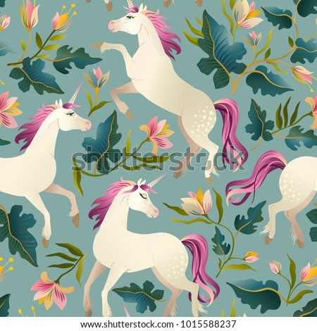 hand drawn vintage unicorn in...