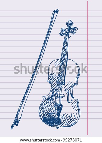 Hand drawn violin