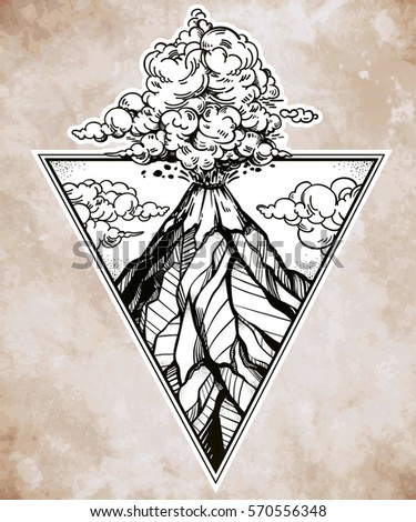 hand drawn volcano in triangle