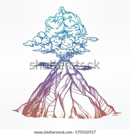hand drawn volcano nature