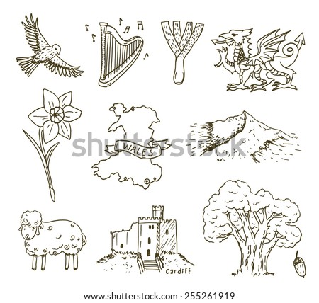 hand drawn wales symbols sketch