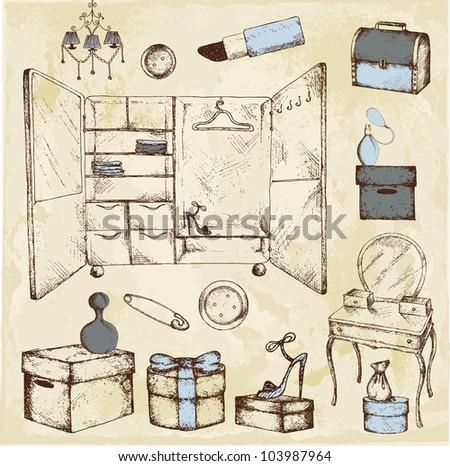 Hand drawn wardrobe room