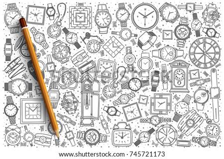 hand drawn watch shop vector