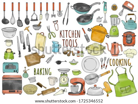 Hand drawn water color illustration kitchen tools.