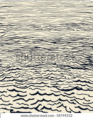 Hand drawn water waves