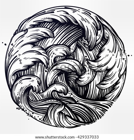 hand drawn water waves in the