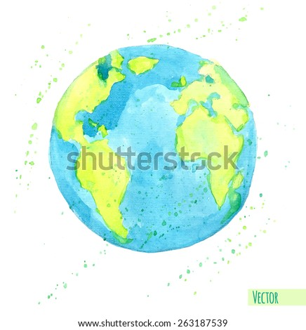 hand drawn watercolor earth