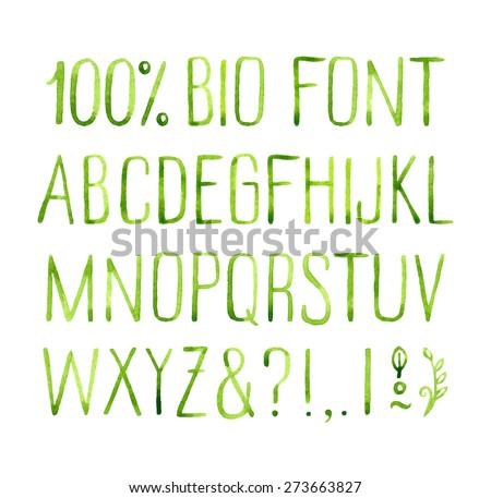 Hand drawn watercolor green natural font.