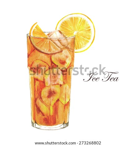 Hand Drawn Watercolor Illustration Of Summer Ice Tea With ...