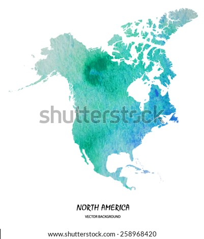 hand drawn watercolor map of North America isolated on white. Vector version