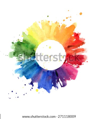 Hand drawn watercolor painting on white background. Vector illustration of color wheel