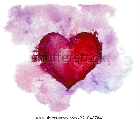 hand drawn watercolor red heart