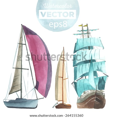 hand drawn watercolor sailboats