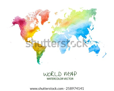 hand drawn watercolor world map