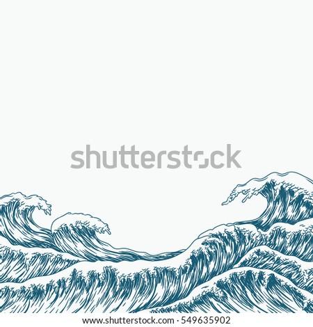 hand drawn wave background....