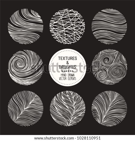 Hand drawn waves, linear textures made with ink. Artistic collection of graphic design elements: swirl, squiggle, wavy stripe, abstract line, organic background, geometric pattern. Isolated vector set