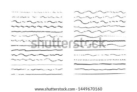 Hand drawn waving doodle lines. Vintage underline border elements, cartoon frame set, pencil grunge decoration. Vector pen stroke sketch