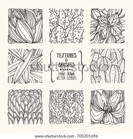 Hand drawn wavy floral textures made with ink. Artistic collection of graphic design elements: flower petal, plant leave, bloom, tree brunch, organic background, geometric pattern. Isolated vector set