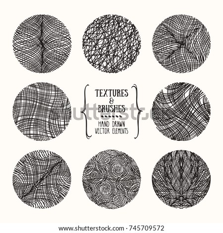Hand drawn wavy linear textures made with ink. Artistic collection of graphic design elements: swirl, squiggle, wavy stripe, abstract linear background, geometric pattern. Isolated vector set.