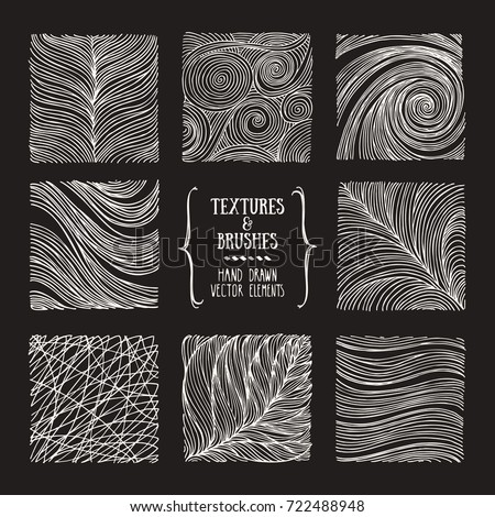 Hand drawn wavy linear textures, pattern drawings made with ink. Artistic collection of graphic design elements: geometric swirl, abstract line, wavy stripe, organic background. Isolated vector set.