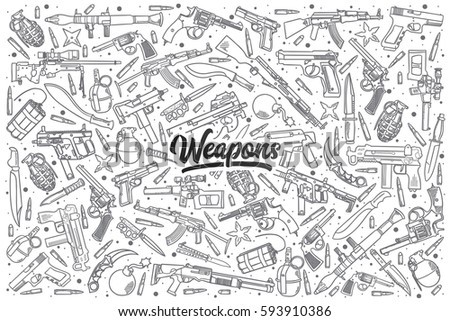 hand drawn weapons doodle set