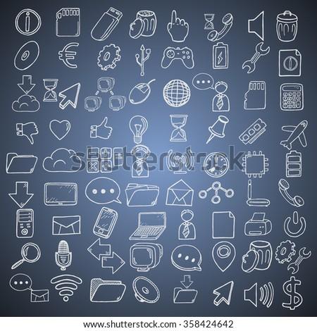 Hand drawn web and computer icons set.