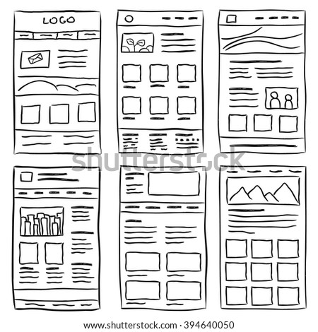 Hand drawn website layouts. doodle style design.Website layout doodle. Web page graphic template. UI kit sketch internet page.Portfolio webpage idea. Creative web design sketch. Wireframe page layout.