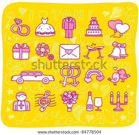 hand drawn wedding,love icons