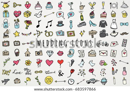 Hand Drawn Wedding & Marriage Icons Set - Full Color Sketched Illustrations Collection #683597866