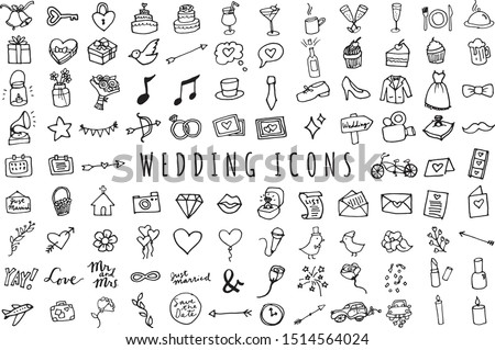 Hand Drawn Wedding & Marriage Icons Set - Full Color Sketched Illustrations Collection in Black & White
