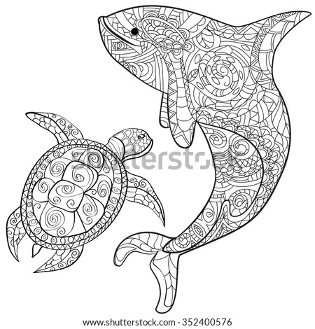 hand drawn whale and turtle