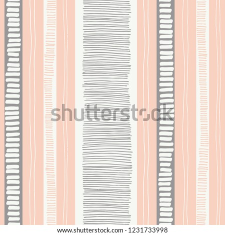 Hand-drawn whimsical textured organic lines and stripes vector seamless pattern. Fresh abstract geometric. Scribbles.