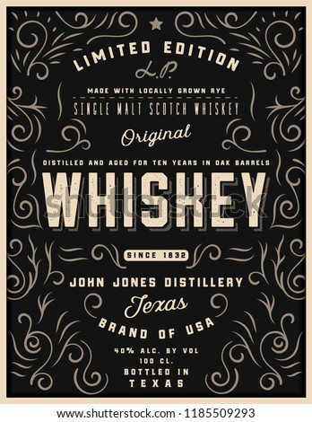 Hand drawn whiskey label with ornament elements, western engraving alcohol whiskey label