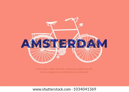 Hand drawn white Bicycle with inscription Amsterdam. Most common transport in Amsterdam. Can be used for postcards and tourist booklets. Vector illustration.